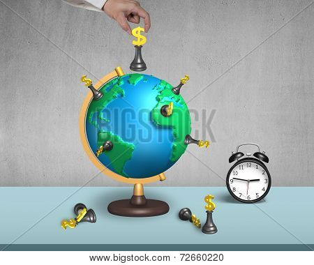 Hand Holding Dollar Chess On 3D Map Globe With Clock