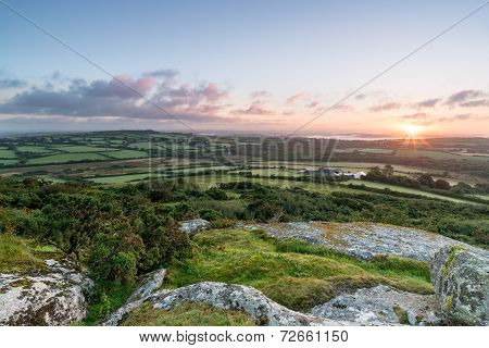 Sunrise On Helman Tor In Cornwall