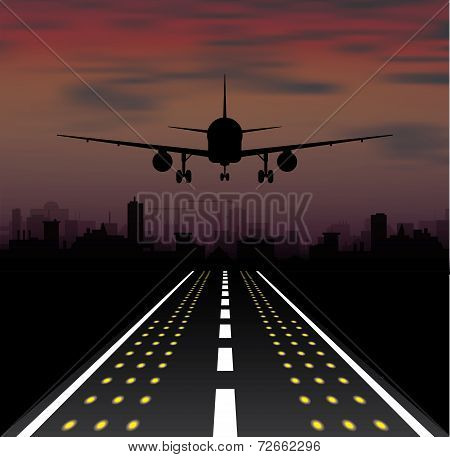 The plane is taking off at sunset and night city
