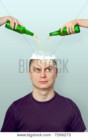 Man Poured The Liquid In The Head