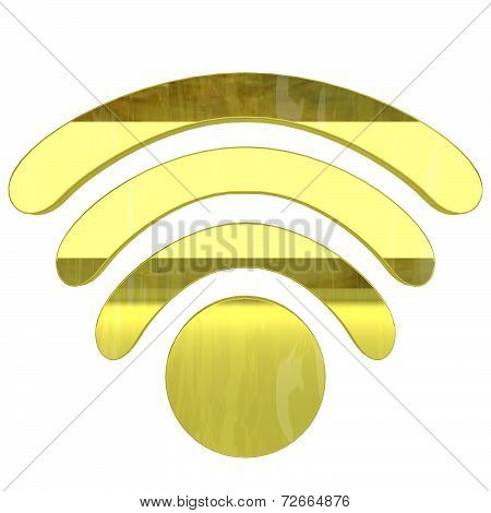 glossy gold wifi icon - 3D render isolated on white