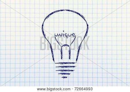 Lightbulb With Filament Saying Unique