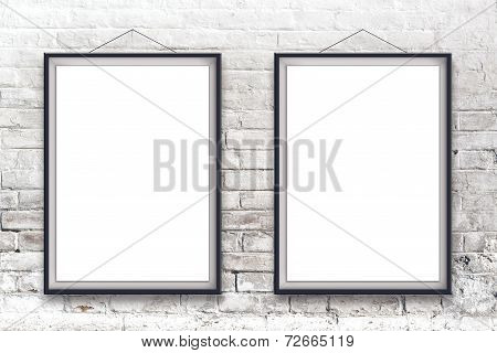 Two Blank Vertical Paintings Poster In Black Frame
