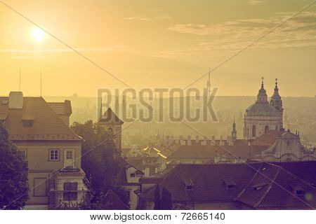 Prague City Morning Skyline