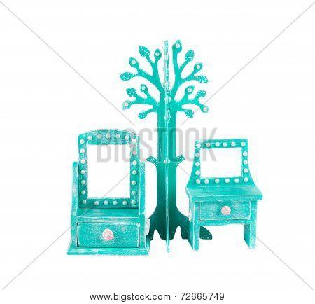 Handmade console mirror decorated.