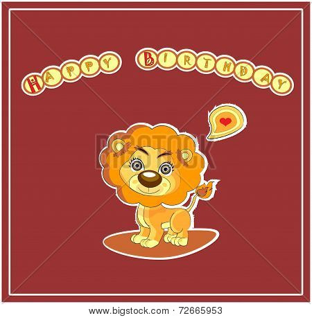 Cute Happy Birthday Card Design with a Lion