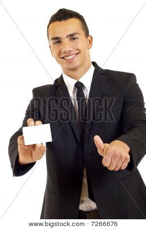 Man Showing A Blank Card