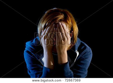 Close Up Woman Suffering Depression And Stress Crying Alone