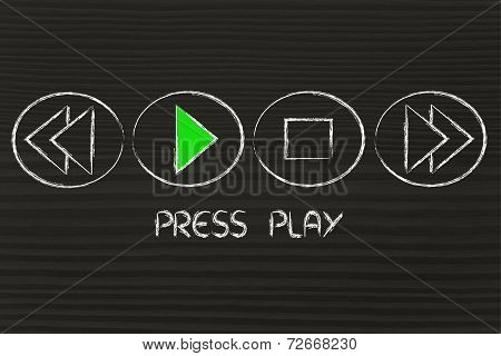Press Play, Music Or Video Button With Play Function On