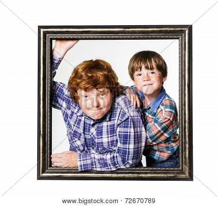 Two Brothers Posing in studio