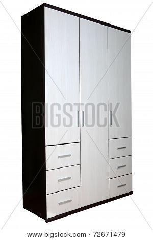 The three-door wardrobe, isolated on white.