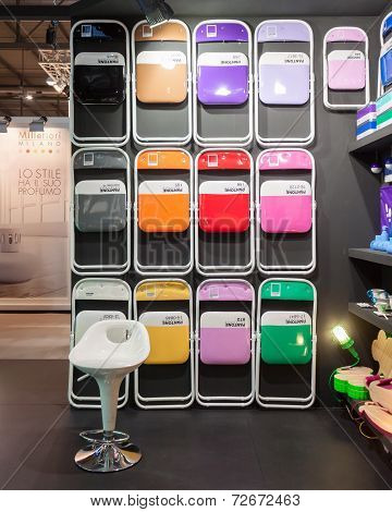 Pantone Chairs On Display At Homi, Home International Show In Milan, Italy