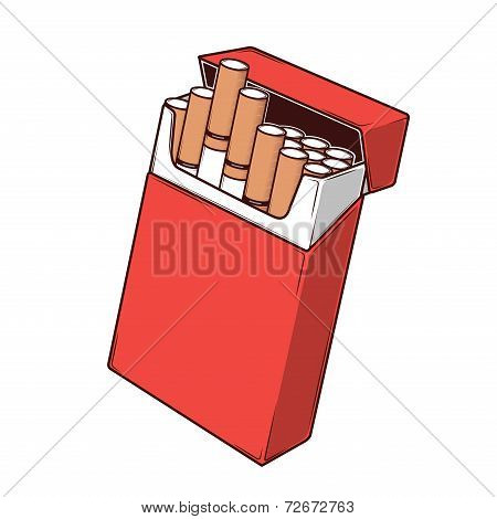Close-up Cigarettes In A Red Packet Isolated On A White Background. Color Line Art. Retro Design. Ve