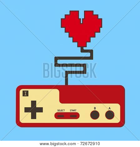 Controller Pad Control Life Heart. Vector. Eps10
