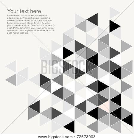 Grey and black triangle geometric mosaic card template
