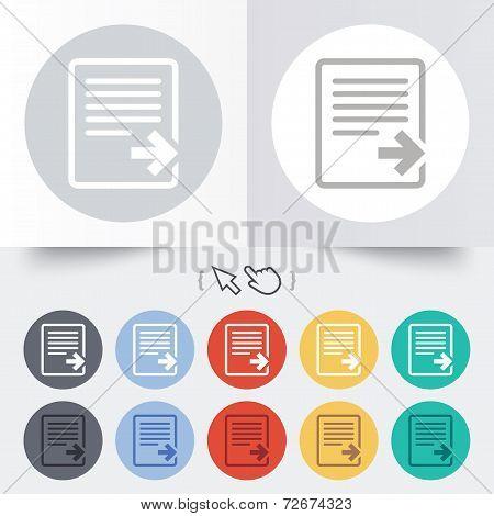Export file icon. File document symbol.