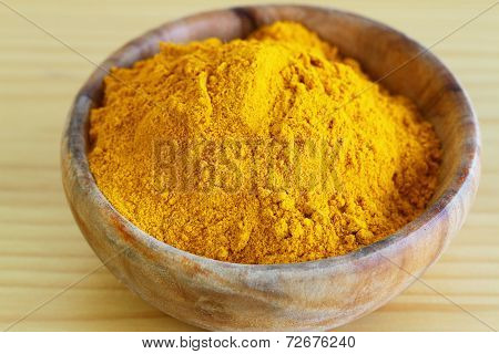 Tumeric powder in wooden bowl, close up
