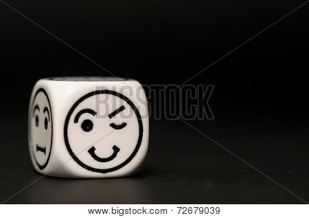 Single Emoticon Dice With Blinking Expression Sketch