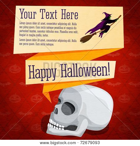 Happy halloween cute retro banner - craft paper texture with white human skull and witch on broomsti