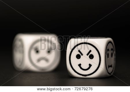Emoticon Dice With Cunning And Sad Expression Sketch