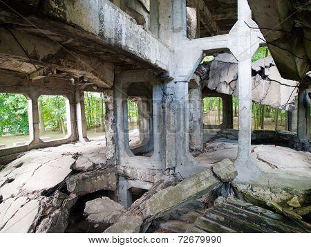 Demolished Westerplatte barracks