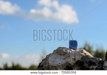 Weather Dice With Sun Sketch On Nature Background