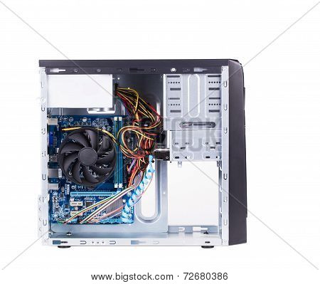 Open PC computer case.