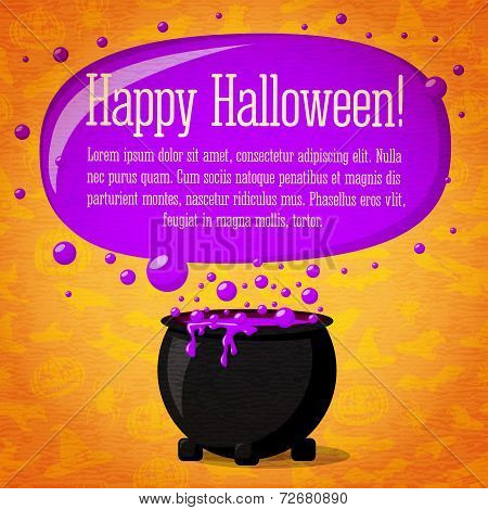 Happy halloween cute retro banner on craft paper texture with black witch cauldron boiling the potio