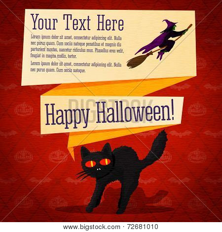 Happy halloween cute retro banner - craft paper texture with black startled cat and witch on the bro