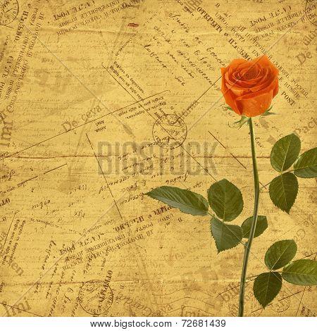 Vintage Aged Background, Old Postcard, Envelopes And Rose