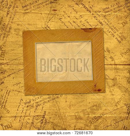 Photo Frames On Old Paper Envelopes And Letters