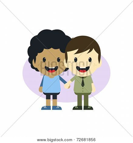 cute gay couple cartoon theme