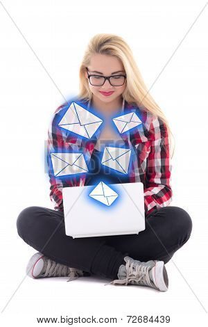 Young Blondie Woman Sitting With Laptop And Sending Messages Isolated On White