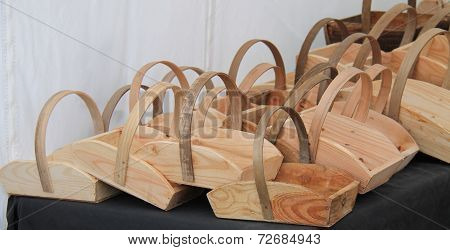 Wooden Carrying Baskets.