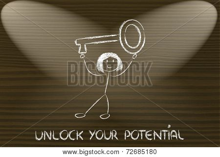 Girl Holding Oversized Key, Unlock Your Potential