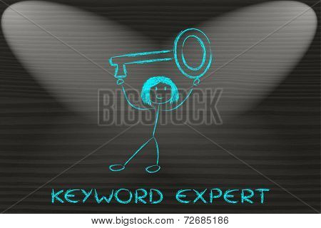 Girl Holding Oversized Key, Keyword Expert