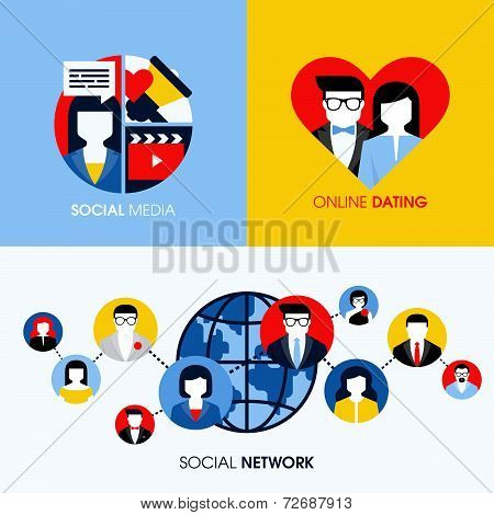 Social Network, Social Media And Online Dating Modern Flat Vector Concepts