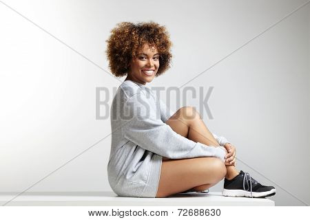 Happy Young Latin Woman Wearing Sweatshirt