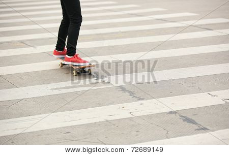 skateboarding woman in the city