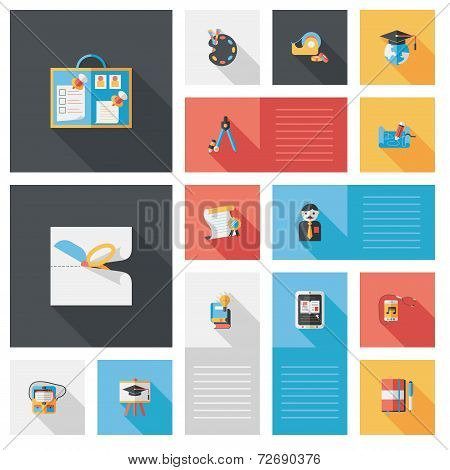 Back To School Flat Ui Background Set, Eps10
