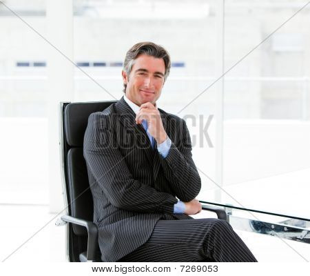 Charming Male Executive Sitting In His Office