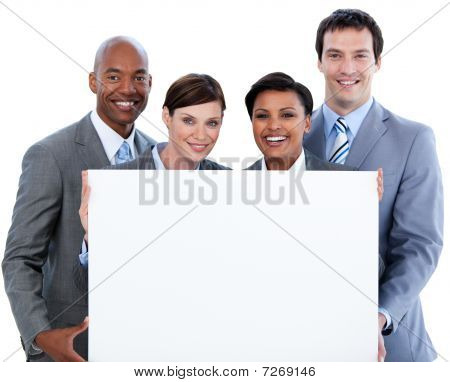 Happy Business Team Holding A White Card