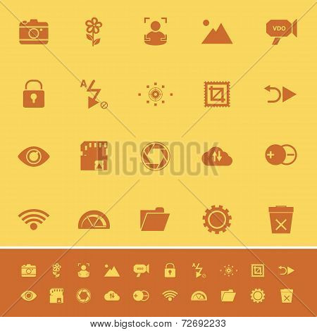Photography Sign Color Icons On Orange Background