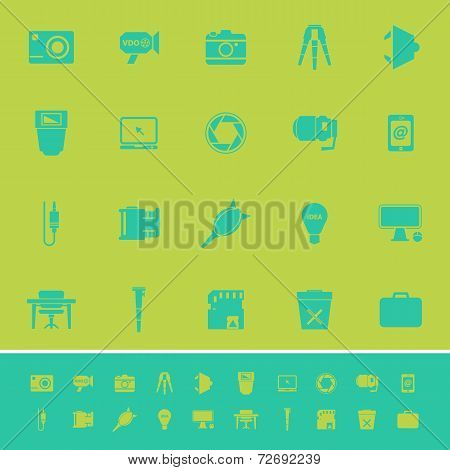 Photography Related Item Color Icons On Green Background