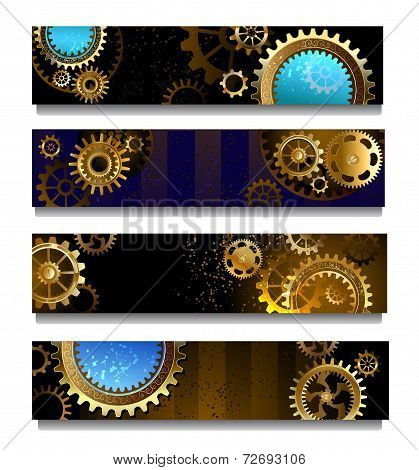 Four Banners With Gears