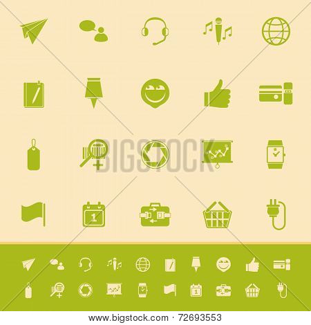 Technology Gadget Screen Color Icons On Light Brown Background