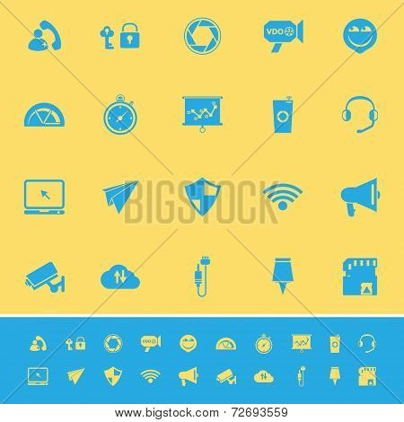 Smart Phone Screen Color Icons On Yellow Background