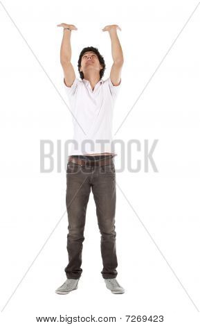 Man Holding An Imaginary Object