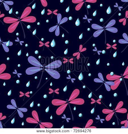 Seamless Pattern Dragonflies On A Dark Background