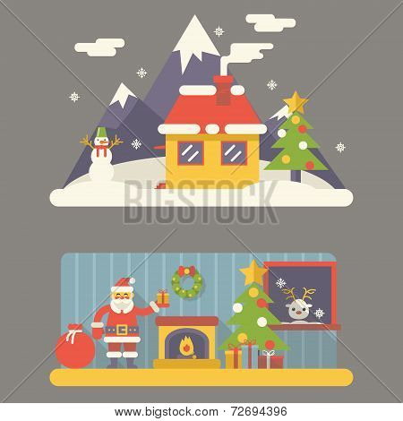 Flat Design New Year Landscape and Room Situation Symbols Christmas Accessories Icons Greeting Card